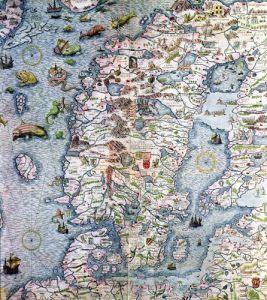 Scandinavia detail from the Carta Marina da Olaus Magnus 1572 by Antonio Lafreri