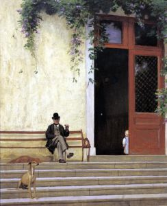 The Artist's Father and Son on the Doorstep of his House c.1866 by Jean-Leon Gerome
