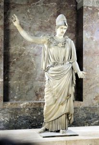 Pallas de Velletri statue of helmeted Athena by Roman Art