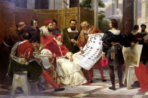 Pope Julius II ordering Michelangelo & Raphael to construct the Vatican & St. Peter's by Emile Jean Horace Vernet