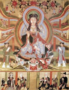 Buddhist banner depicting Dizang and the Six Roads to Rebirth from Dunhuang by China