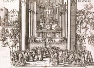 Abjuration of Henri IV at St. Denis 1593 by French School