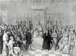 Martin Luther in front of Charles V at the Diet of Worms by German School