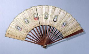 Fan depicting characters involved in the Affaire du Collier 1786 by French School