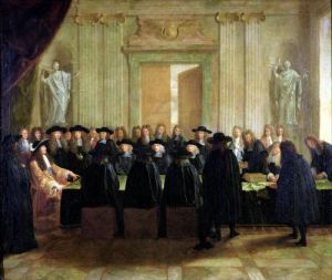 The Seal Held by Louis XIV before Members of the State Council and the Court of Appeal by French School