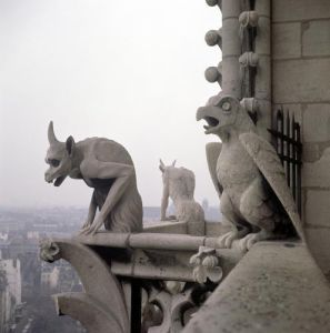 Gargoyles on the balustrade of the Grande Galerie by Eugene Emmanuel Viollet-Le-Duc