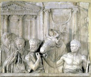 Relief depicting preparations for a sacrifice by Roman Art