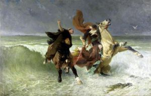 The Flight of Gradlon Mawr c.1884 by Evariste Vital Luminais