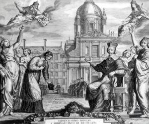 Robert de Sorbon and Cardinal Richelieu in Front of the Sorbonne by Matthaus Merian the Elder
