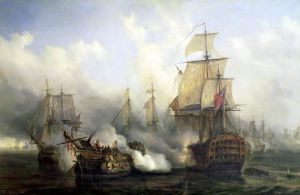 The Redoutable at Trafalgar 1805 by Auguste Etienne Francois Mayer