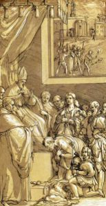 Emperor Henri IV at the feet of Pope Gregory VII by Federico Zuccaro