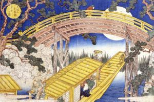 Fan Bridge by Moonlight from 'Views of Mount Tempo' 1834 by Yashima Gakutei