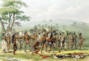 Mandan Archery Contest c.1832 by George Catlin