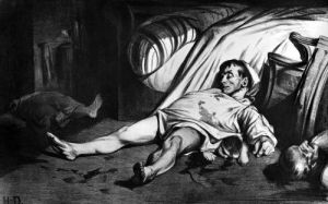 Rue Transnonain illustration from 'L'Association Mensuelle' 1834 by Honoré-Victorin Daumier