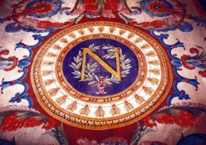 Central detail of a rug with the 'N' of Napoleon I by French School