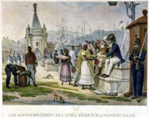 Early Evening Refreshment in the Praca do Palacio Rio de Janeiro by Jean Baptiste Ange Debret
