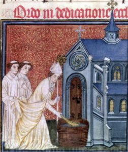 Bishop Consecrating a church from the 'Pontifical of Sens' by French School