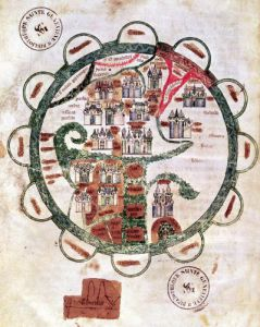World map with Jerusalem in the centre c.1275 by French School