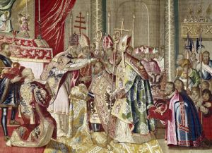 The Coronation of Charles V from 'The Tapestry of Charles Quint' c.1630 by Flemish School