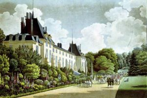 View of the Chateau de la Malmaison next to the park by Auguste Simon Garneray