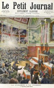 Dynamite Explodes in the Chamber of Deputies front cover of 'Le Petit Journal' 1893 by Frederic Lix