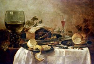 Still Life with Fruit Pie 1635 by Willem Claesz Heda