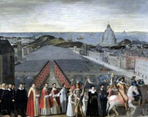 Procession of the Brotherhood of Saint-Michel in 1615 by French School