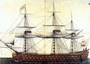 The Ship 'La Ville de Paris' launched at the port of Rochefort 1760 by French School