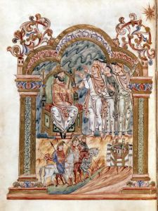 The Magi Visiting King Herod c.1016 by English School
