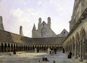 The Cloister of Mont Saint-Michel by Emmanuel Lansyer