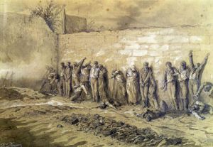 Execution at the 'Mur des Federes' Pere-Lachaise cemetery 1871 by Alfred Henri Darjou