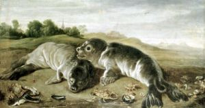 Two Young Seals on the Shore c.1650 by Paul de Vos