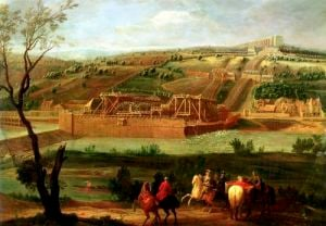View of the Marly Machine and the Aqueduct at Louveciennes 1722 by Pierre-Denis Martin