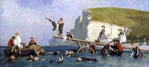 Bathing at Etretat by Eugene Modeste Edmond Lepoittevin