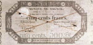 Banknote for 500 francs from the 24th Germinal of the Year XI 1806 by French School