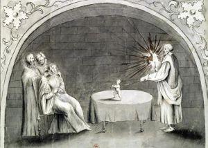 Michel de Nostradame and Catherine de Medici by French School