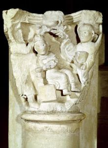 Capital with a relief depicting the Sacrifice of Abraham by French School