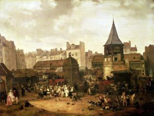 Rejoicing at Les Halles to Celebrate the Birth of Dauphin Louis of France 1783 by Philibert Louis Debucourt