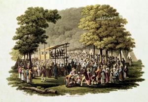 Camp Meeting of the Methodists in North America 1819 by Jacques Milbert