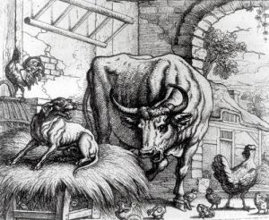 Illustration for 'The Dog and the Ox' from Aesop's Fables 1666 by Francis Barlow