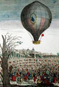 Hot-Air Balloon Experiment by the Montgolfier Brothers 1784 by French School