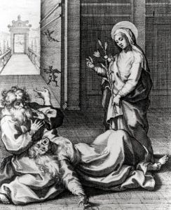 St. Catherine Exorcising a Demon from a Possessed Woman by French School