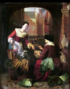 The Vegetable Seller by Gerrit Dou