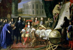 Jean-Baptiste Colbert Presenting the Members of the Royal Academy of Science to Louis XIV (detail) by Henri Testelin