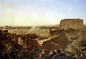 The Battle at the Temple of Karnak' The Egyptian Campaign by Jean Charles Langlois