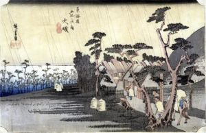 Oiso' Toraga Ame Shower  '53 Stations of the Tokaido Road' 1834 by Ando Hiroshige
