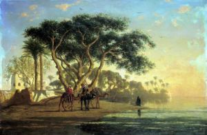 Arab Oasis 1853 by Narcisse Bercher
