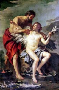 Daedalus Attaching Icarus' Wings c.1754 by Joseph-Marie Vien the Elder
