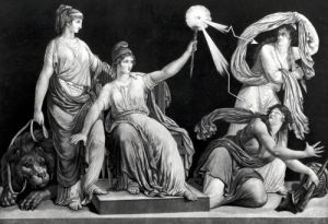 Liberty armed with the sceptre of reason striking down Ignorance and Fanaticism 1793 by Simon Louis Boizot