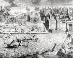 The Massacre of the Huguenots at Tours in 1562 by French School